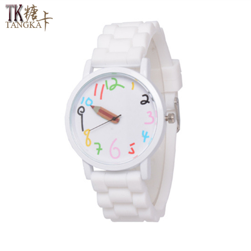 2017 fashion female jelly sports watch students rubber Pencil pointer Clockwise display  lovely boys and girls quartz watch point systems migration policy and international students flow