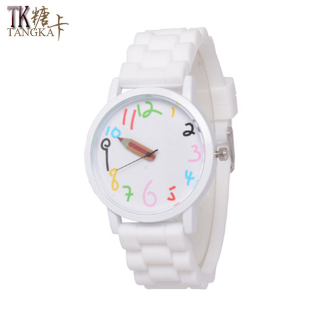 2017 fashion female jelly sports watch students rubber Pencil pointer Clockwise