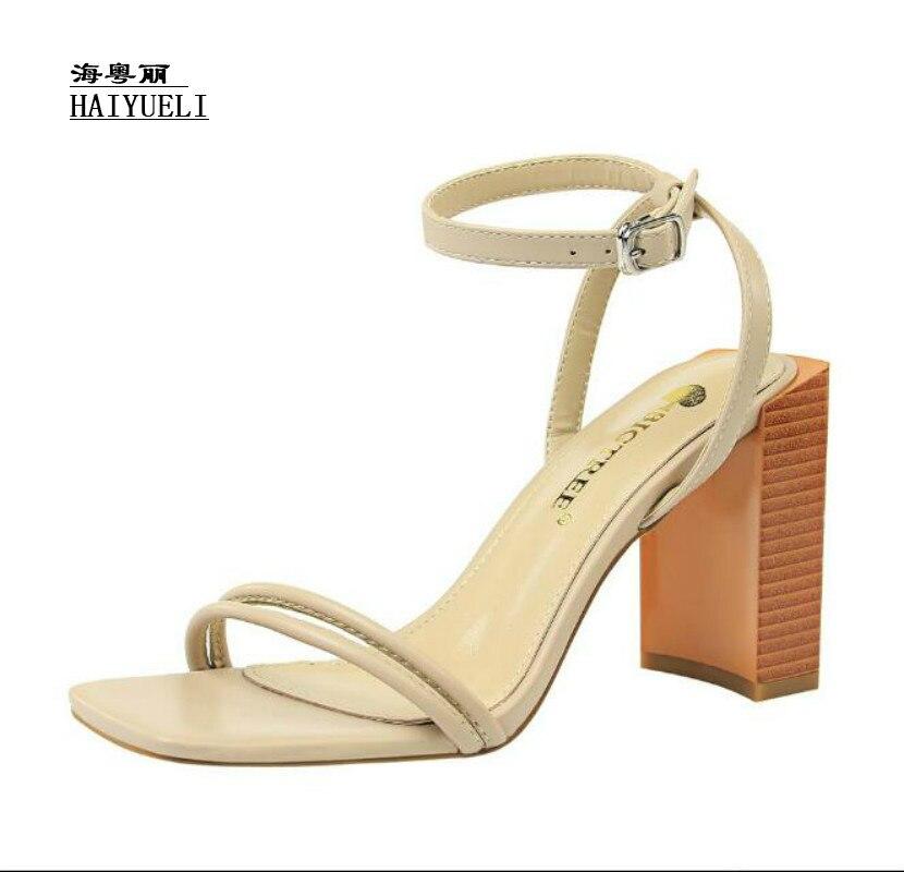 Sandales Pompes Apricot Banquet Sexy Hauts Chaussures marron noir Mode À Talon Talons Épais Femmes D'été Rqw8UR