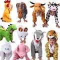 Niños Niños Cartoon Animal Disfraces Cosplay Ropa Dinosaurio Tigre Elefante regalo De Navidad Animales Mono de la Muchacha Del Muchacho