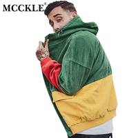MCCKLE Autumn Color Block Patchwork Corduroy Hooded Jackets Men Hip Hop Hoodies Coats Male 2017 Casual