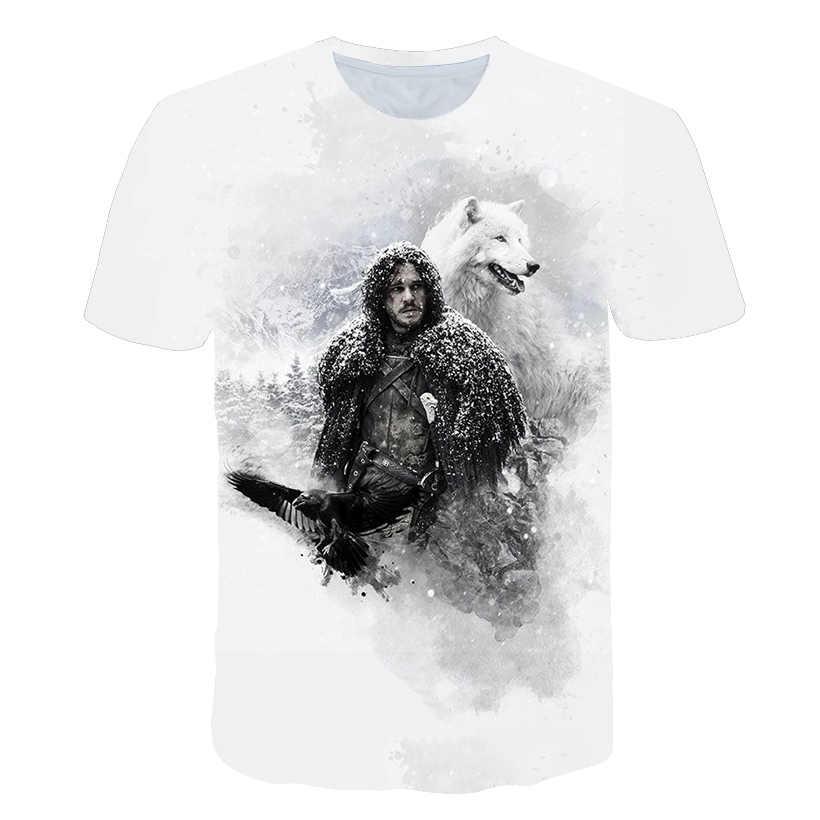 Мужская одежда 2019 Новые футболки Летняя мужская мода 3d печать Игра престолов футболка