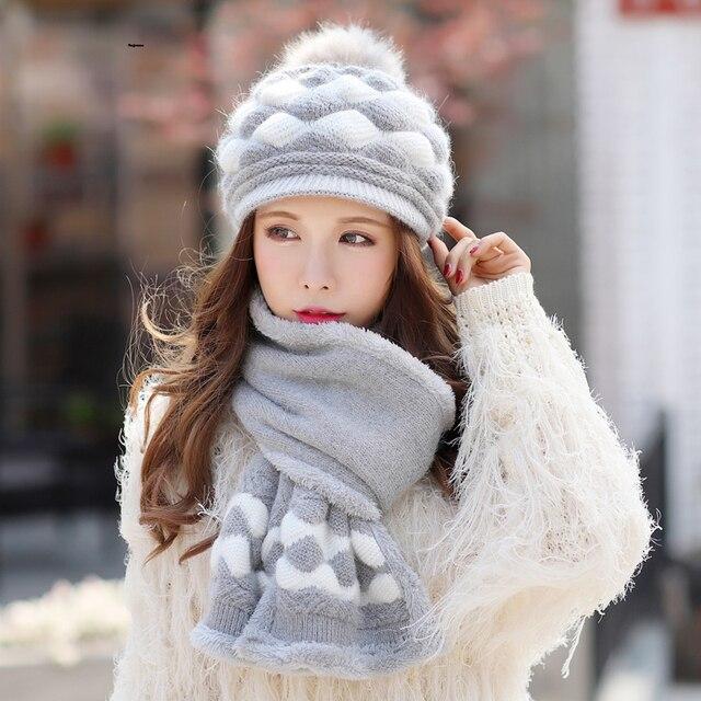 67ad425e8c0f0 Kagenmo gorro de invierno y bufanda Twinsets mujer invierno cálido gorro de  punto conejo tejer bufanda
