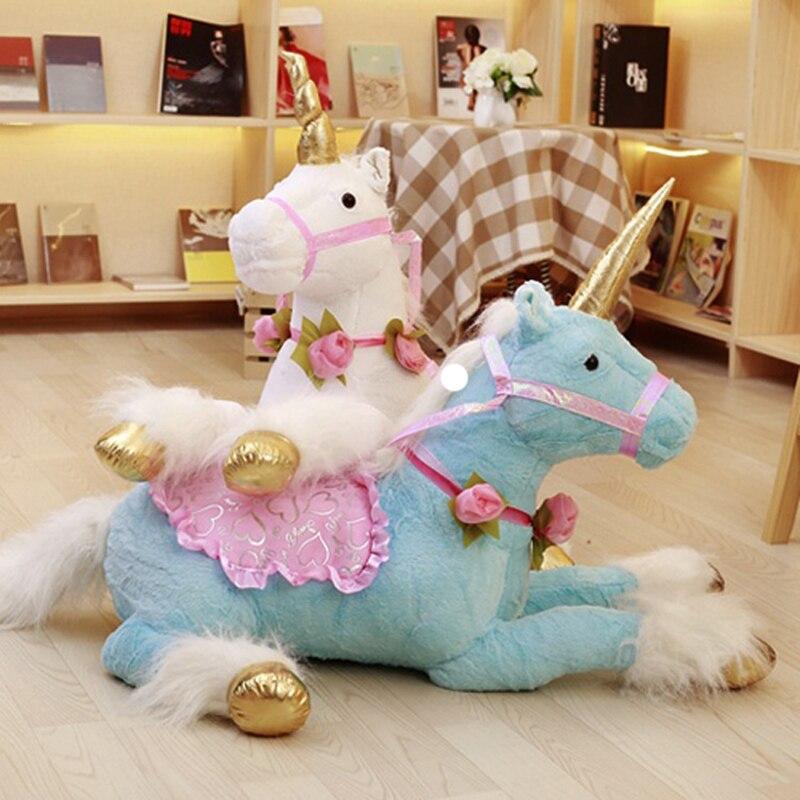 100cm licorne cheval en peluche jouets Simulation cheval en peluche Animal doux poupée canapé décor à la maison cadeau pour enfants Photo accessoires enfant cadeaux