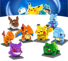 8 styles go mini Figures Case for Legos Model Kids toy Cards Games Pikachu Charmander Bulbasaur Blocks Case for Legos