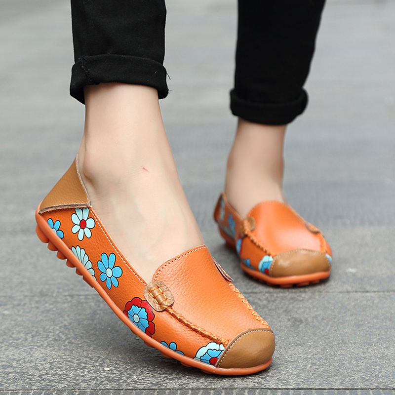 2019 Genuine Leather Shoes Women Plus Size 44 Women Flats For Nurse Ballerina Flat Shoes Slip On Loafers Casual Mocassin Femme