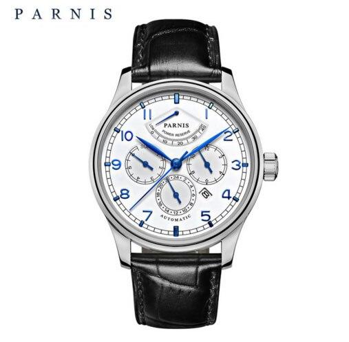 Parnis zafiro cristal delgado Miyota 9100 movimiento mecánico automático hombre reloj reserva de energía Mes Día reloj-in Relojes mecánicos from Relojes de pulsera    1