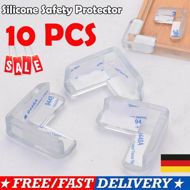 10pc Child Baby Proofing Safety Silicone Locks Table Corner Edge Protector Cover