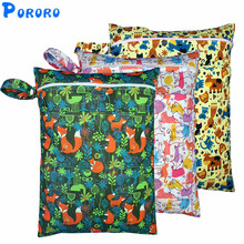 PUL Wet Bag Baby Waterproof Cloth Diaper Double Pocket Zippers Print Reusable Nappy Rubbish Wetbags 30x40cm