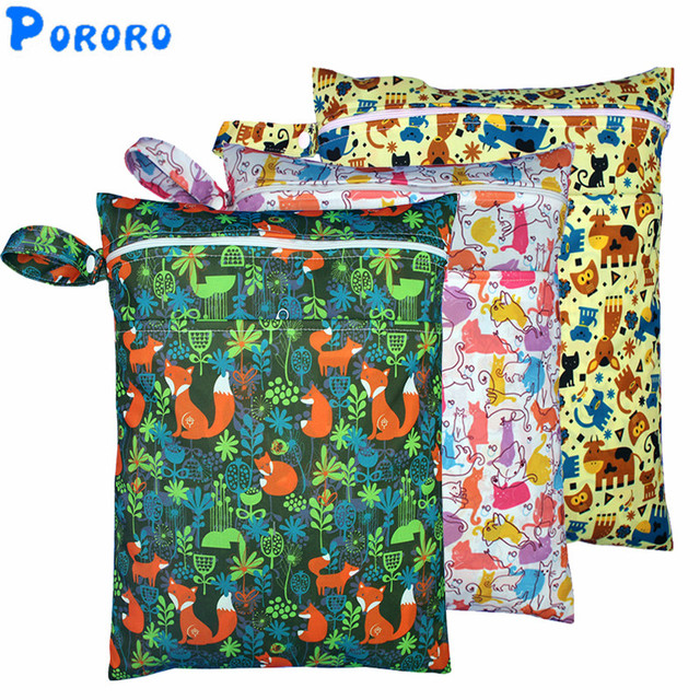 Pul Wet Bag Baby Waterproof Cloth Diaper Double Pocket Zippers Print Reusable Ny Rubbish