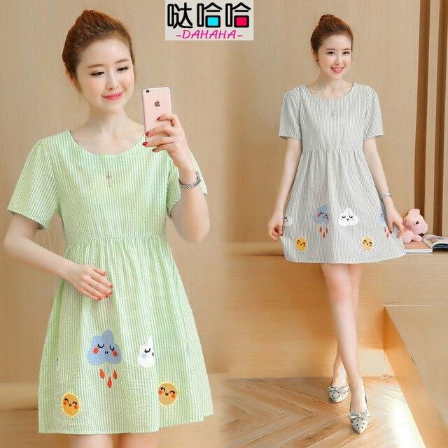 ab53781833a33 الصيف الصينية ماركة الحمل النساء ازياء لل نساء الحوامل ملابس الأمومة فساتين  الشحن لطيف بنات السيدات