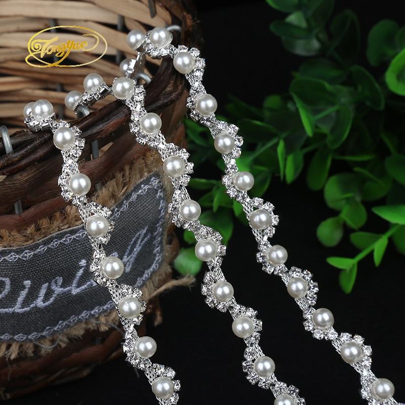 1 Yd Aloi Rantaian Mutiara Asas Pakaian Perhiasan Ornamen Silver Trim - Seni, kraf dan jahitan - Foto 6