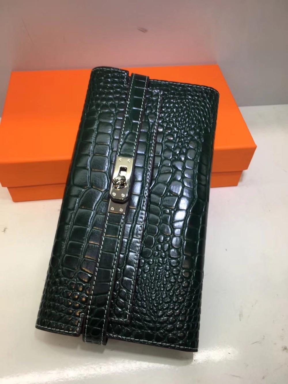 Cafunila marque de luxe portefeuille femmes en cuir véritable deigner sac à main pour femme original en cuir motif Crocodile mode embrayage bolsa
