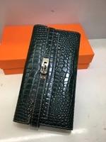 Kafunila luxury brand wallet women genuine leather deigner women's purse original leather Crocodile pattern fashion clutch bolsa