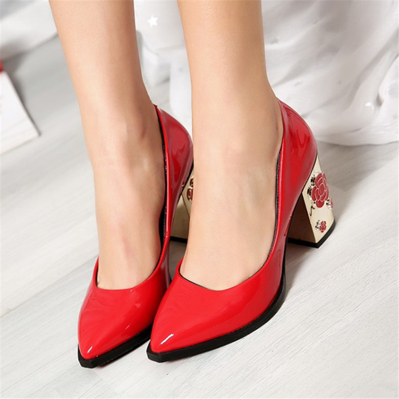 Plus size 34-43 Genuine Leather Women Pumps Flower High Heels Patent Leather Fashion Wedding Party Office & Career Casual Shoes цены онлайн