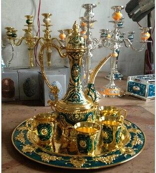 del vino del metal juego moda vino 1 Unidades 1 placa 1 pot 6 cups herramientas cobre boda China wholesale factory Bronze Arts