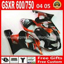 Новое для 2004 2005 оранжевый черный кузов SUZUKI GSXR 600 750 набор зализа K4 gsxr600 TVK gsxr750 зализах 04 05 мото 7