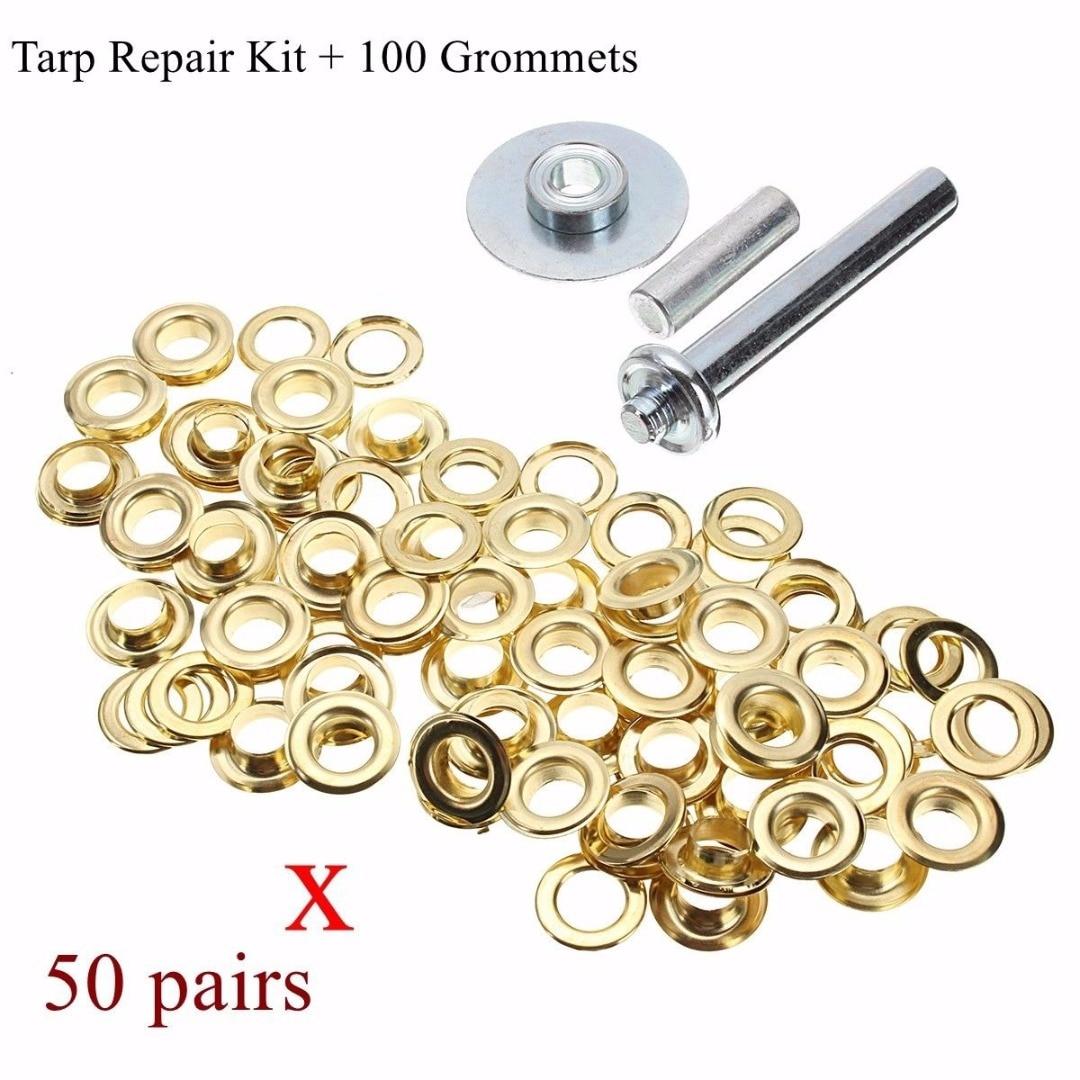 50 Pairs of Spair Brass Coated Steel Eyelets//Grommets for Tarpaulin Repair Kit