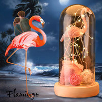 Decor for Home Pink Flamingo Decoration with Roses Artificial Flowers LED Light in Glass Dome Wood Base Christmas Gifts Box