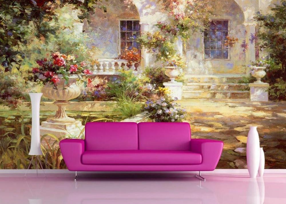 Custom 3d photo wallpaper garden landscape oil painting tv for 3d mural wallpaper