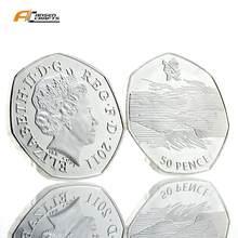 Moneda de copia chapada en oro y plata para natación, 50P 50 Pence Elizabeth II EIIR II 2011 británico
