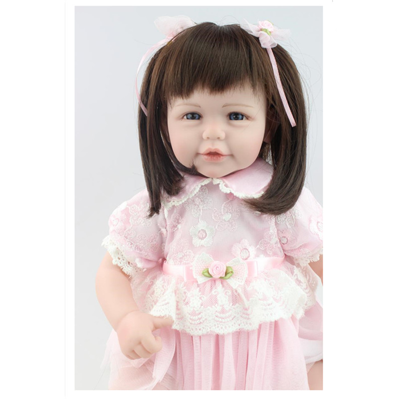 47 CM Lovely Reborn Dolls Babies Girl Doll Straight Hair,Cute Vinyl Dolls Toys Gift for Kid Free Shipping 22 inches sweet girl dolls brown hair 55cm doll reborn baby lovely toys cute birthday gift for girls as american girl