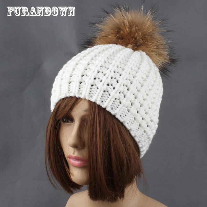 Lady rudens žiemos mezgimo beanie kepurės Natūralaus kailio - Drabužių priedai