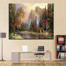 Forest Tree Mountain Landscape DIY Painting By Numbers Kits Coloring Paint Modern Wall Artwork Decor Gift Picture