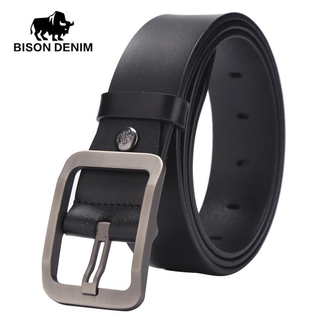 BISON DENIM 2017 nuevo diseñador de la marca correa de cuero, correas para los hombres pantalones vaqueros de cuero de vaca, Capa Superior W71152 Cinturones de cuero para hombres