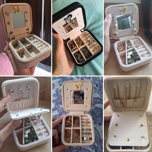 Navidad portátil caja de joya caja de joyería, organizador de cosméticos maquillaje organizador pendientes collar anillo caja de almacenamiento de regalo de Navidad