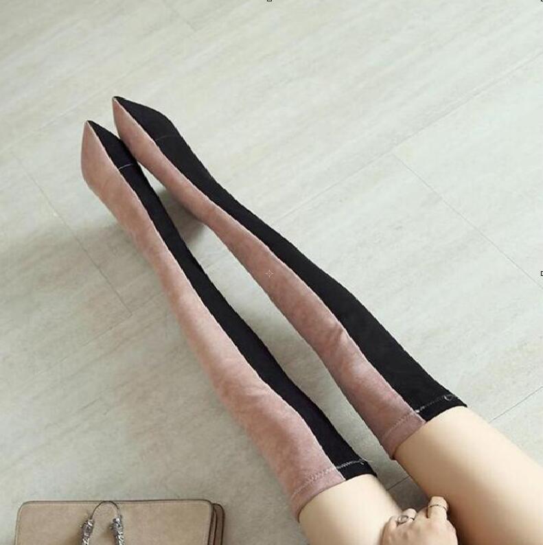 Mode 2019 femmes cuissardes bottes rose noir mixte hiver Botines Mujer Sexy sur le genou bottes dames bottes longues pour les femmesMode 2019 femmes cuissardes bottes rose noir mixte hiver Botines Mujer Sexy sur le genou bottes dames bottes longues pour les femmes
