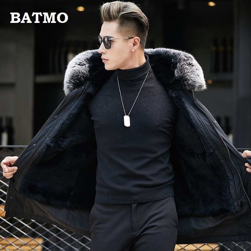 Batmo 2018 new arrival winter high quality warm raccoon fur liner hooded blue jacket men,fox fur collar parkas men 1833