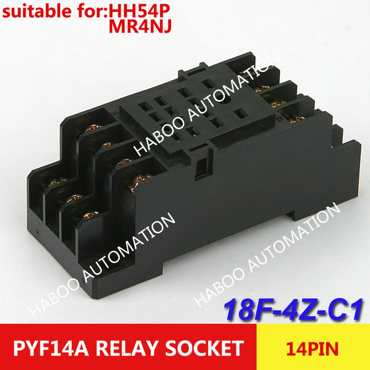 10pcs/lot HABOO 14Ppin socket ForJQX-13F/4Z HH54P MY4NJ Relay mini relay socket 250V 7A electrical smart socket