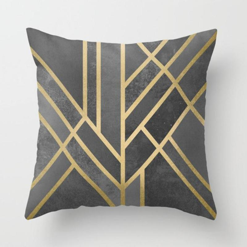 Factory Wholesale Customized Home Deocr Decor Geometric Pillow Case Navy Geometric Cushi ...