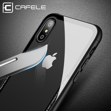 CAFELE Tempered Glass Back Case For iPhone X 10 XS Case Soft TPU Ultra Thin Transparent