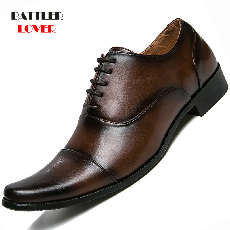 Brand Full Grain Leather Business Men Dress Shoes Lace-up Retro Genuine Leather Oxford Shoes For Men Hairdresser Shoe EU 39-44