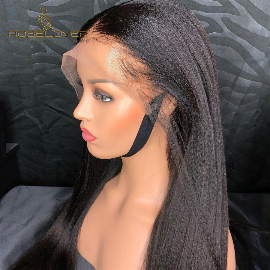 Yaki Straight Glueless 360 Lace Frontal Wig Pre Plucked with Baby Hair Ponytail Brazilian Wig Remy