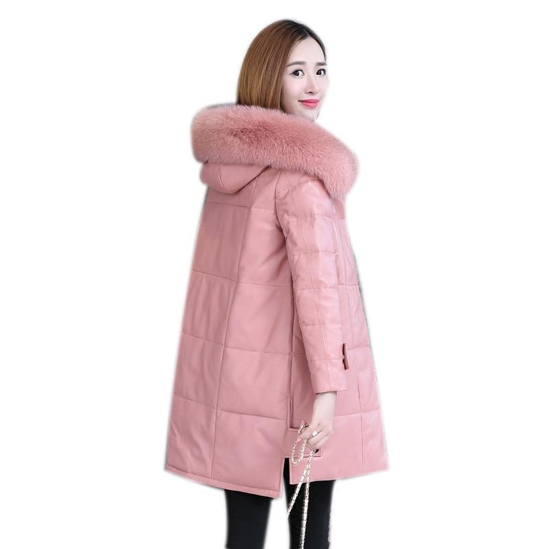 Genuine Sheepskin Leather Suede Coat Jacket Fox Fur Hoody Autumn Winter Women Warm Outerwear Coats Plus