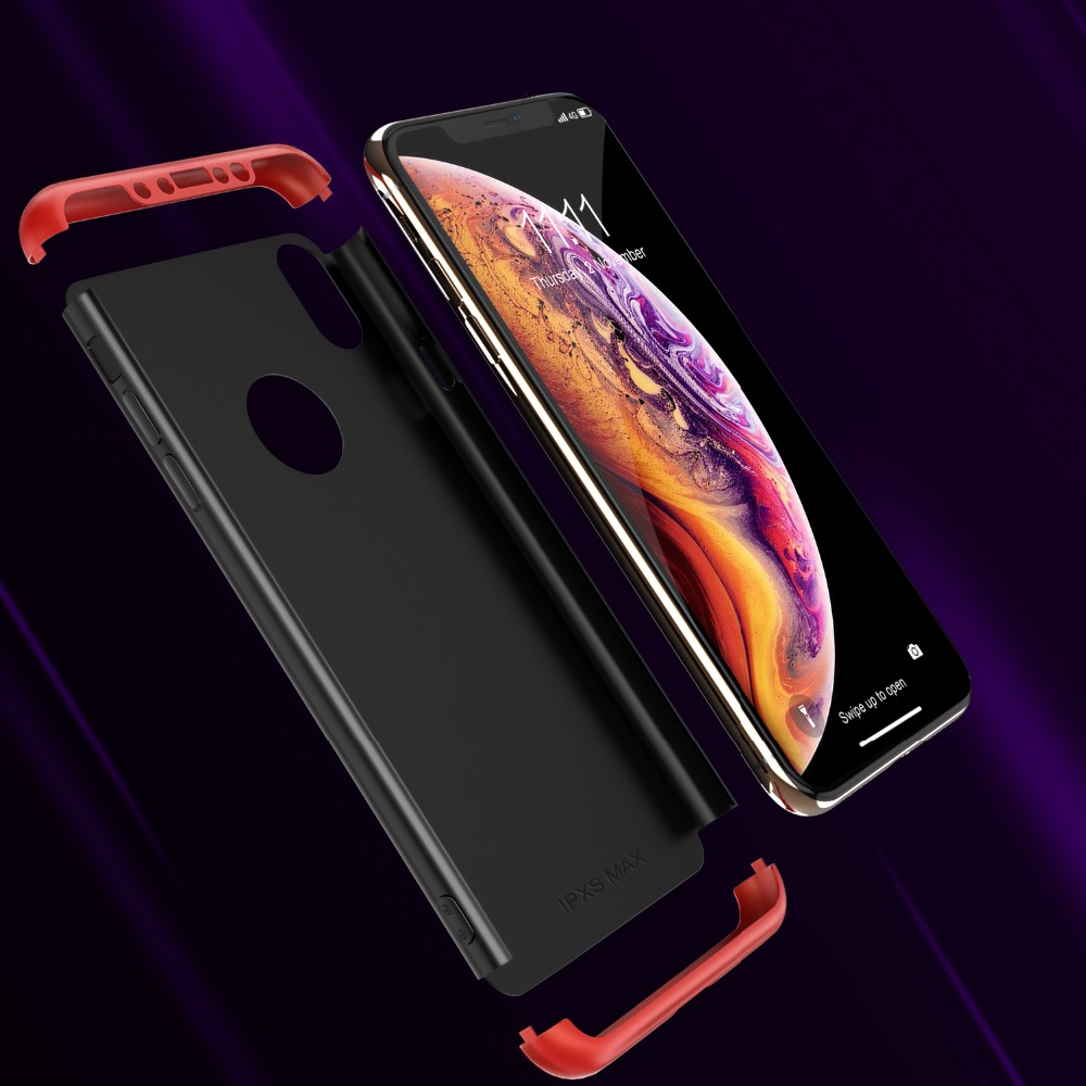 CASEIER Hard PC Case For iPhone XR XS MAX 7 Plus 8 Plus Shield Three Section PC Phone Case For iPhone 10 6 6S 7 8 XR XS Cover in Fitted Cases from Cellphones Telecommunications