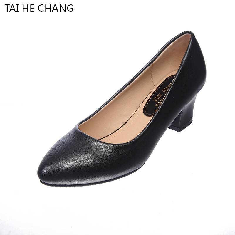 166-1 2017 Autumn Black PU Thick High Heels Pumps Toe Lacing Female Platform Shoes Casual Office Lady women Shoes Square Heeled