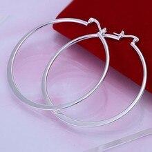 Wholesale Beautiful Fashion Jewelry Silver Earring Flat Ear Ring 925 jewelry silver plated Earrings Free Shipping E043