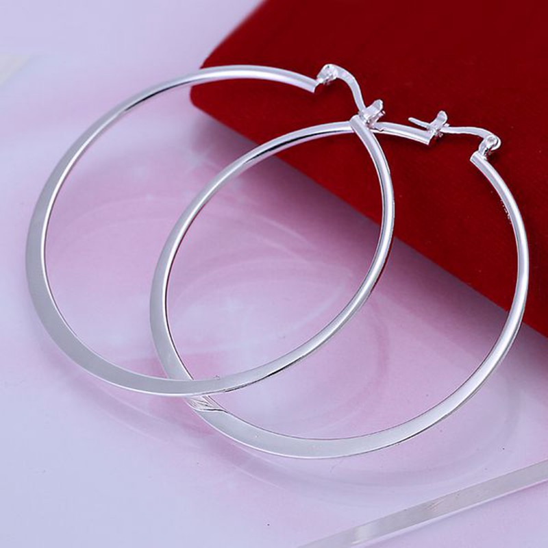 Wholesale Beautiful Fashion Jewelry Silver Earring Flat Ear Ring 925 jewelry silver plated Earrings Free Shipping E043 ...