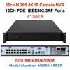 36ch ONVIF Super HD 4K NVR DVR H 265 Video Recorder For 4K 5mp 4mp 3m