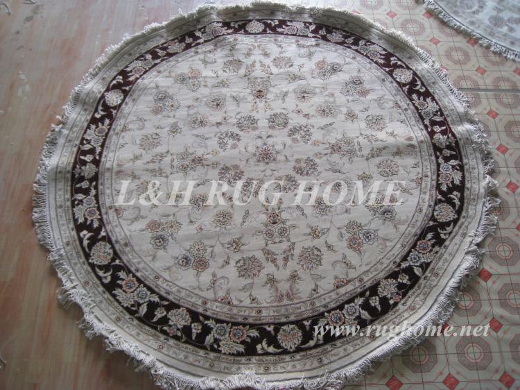 Free Shipping 7u0027X7u0027 160 Line Round Wool U0026 Silk Oriental Handmade Persian  Carpet
