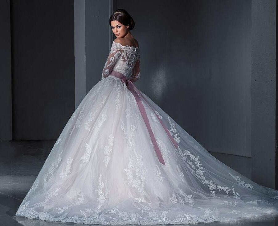 2016 Long Sleeves Bridal Gowns Off The Shoulder See