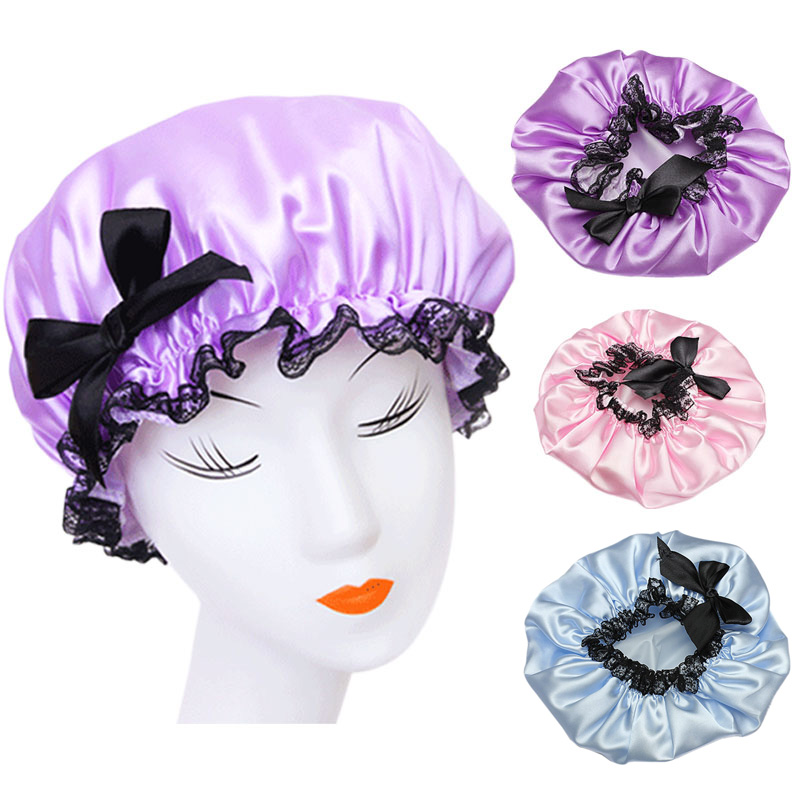 Bath Beauty & Health Objective 3colors Women Waterproof Elastic Lace Shower Bouffant Hair Bath Cap Hat Spa Protect Hb88 Fixing Prices According To Quality Of Products