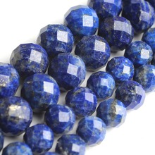 цена Natural Faceted Lapis Lazuli Stone Round Loose Spacer Gemstone Beads For Jewelry Making DIY Bracelet Necklace Size 6/8mm 7.5'' онлайн в 2017 году