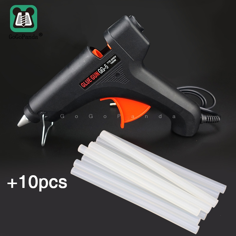 Free Shipping 100W DIY Hot Melt Glue Gun Black Sticks Trigger Art Craft Repair Tool With Light GG-5 110V-240V