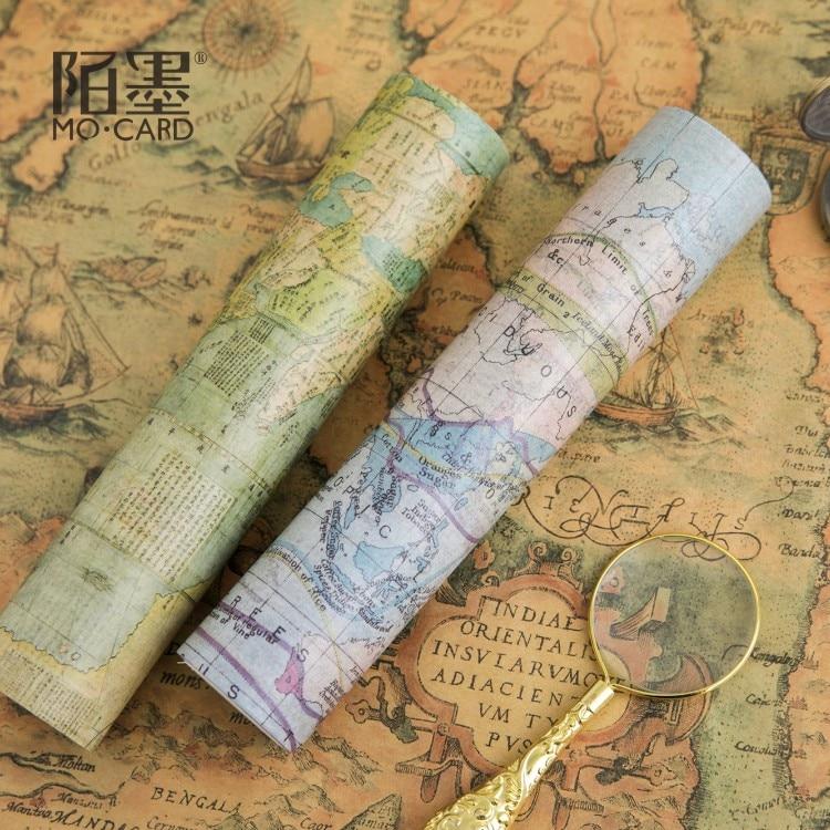 2PCS/LOT Tour around the world 20cm*5m decorative paper tape masking tape washi tape world outside the window paper