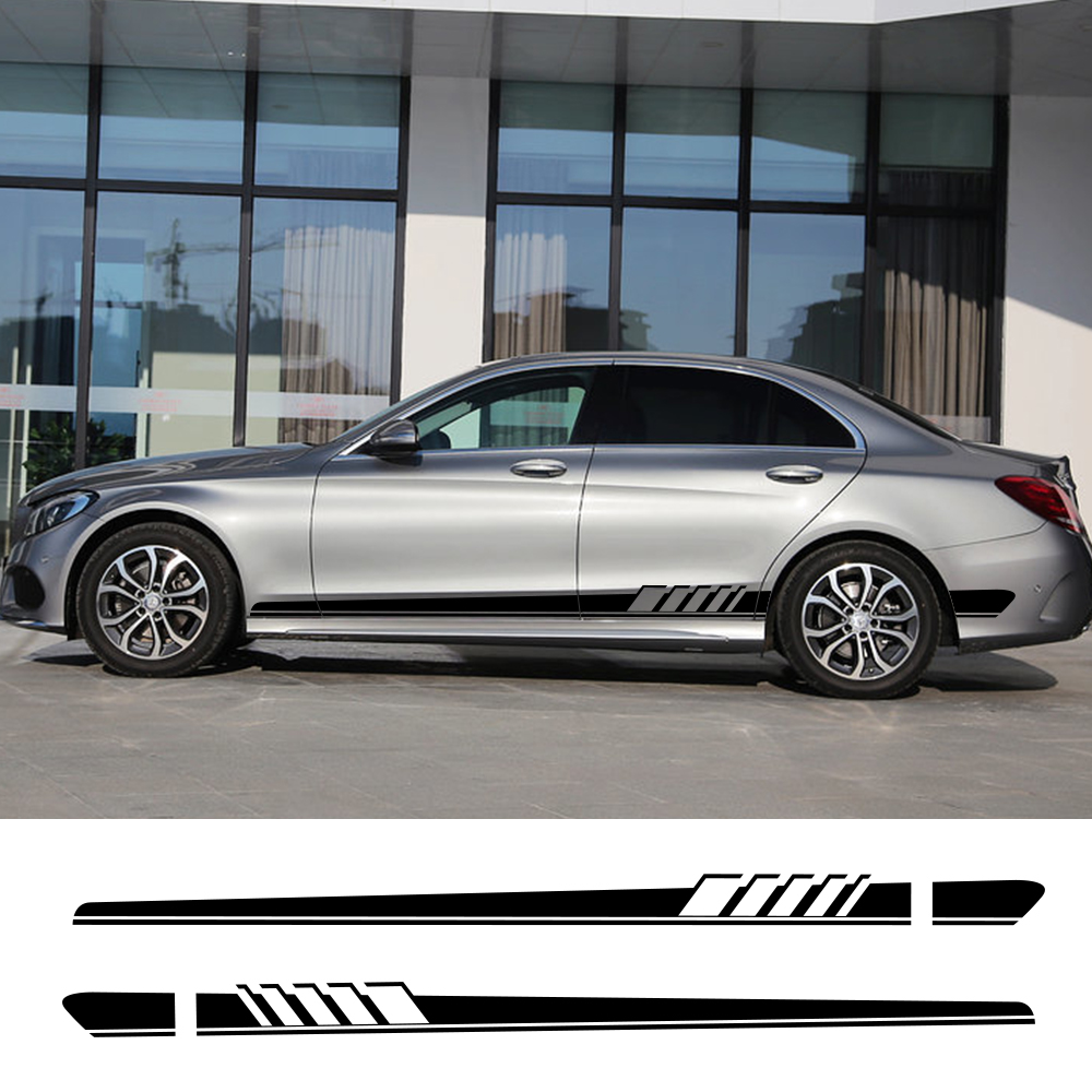 Car Stickers Auto Side Stripe DIY Decals for <font><b>Mercedes</b></font> Benz W205 W204 W203 C Class C180 C200 <font><b>C300</b></font> C63 <font><b>coupe</b></font> C43 Auto Accessories image